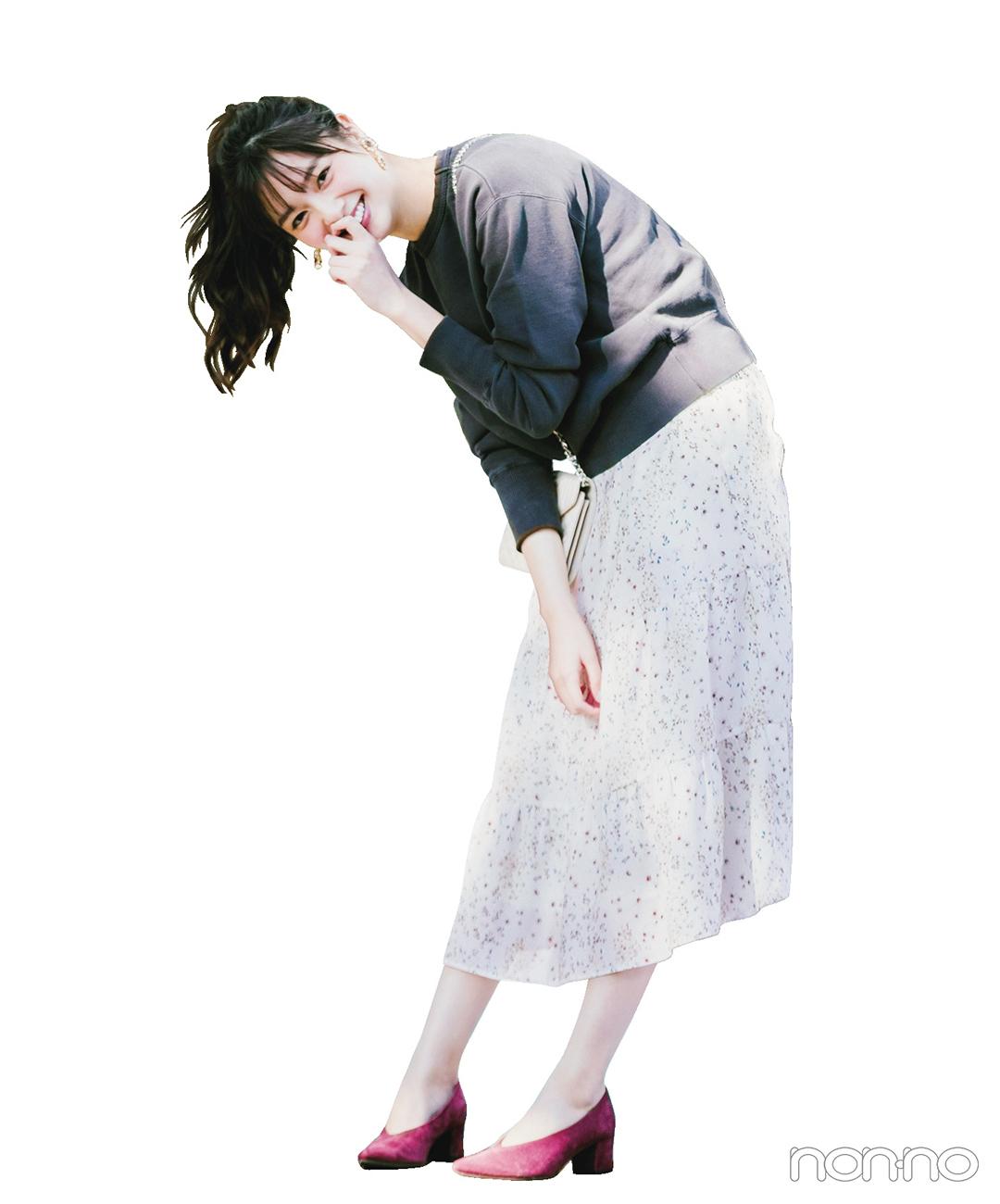 新川優愛はスウェットと花柄ワンピで大好きな甘辛コーデを満喫【毎日コーデ】_1_1