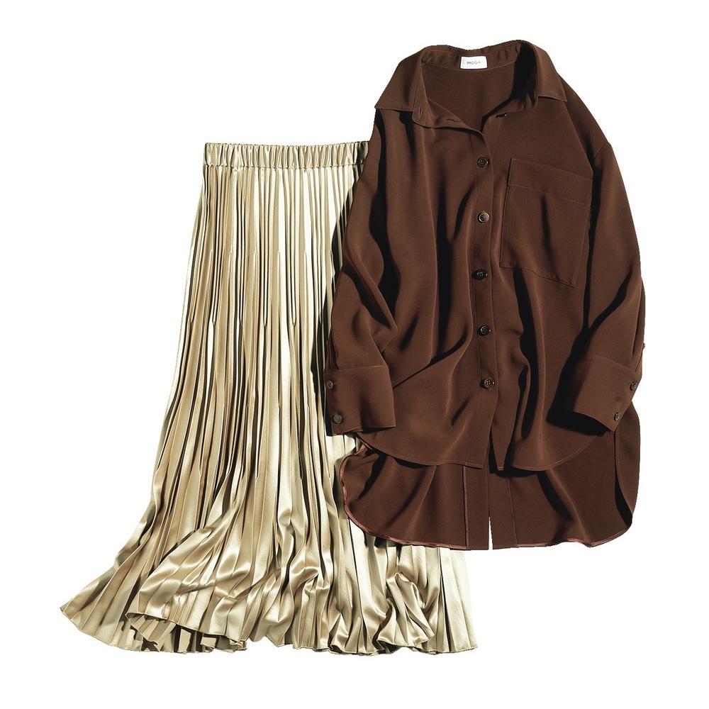 ファッション モガのビッグシルエットシャツとプリーツスカート