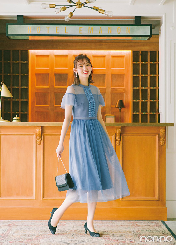 エメとノンノモデル江野沢愛美のコラボレーションドレス