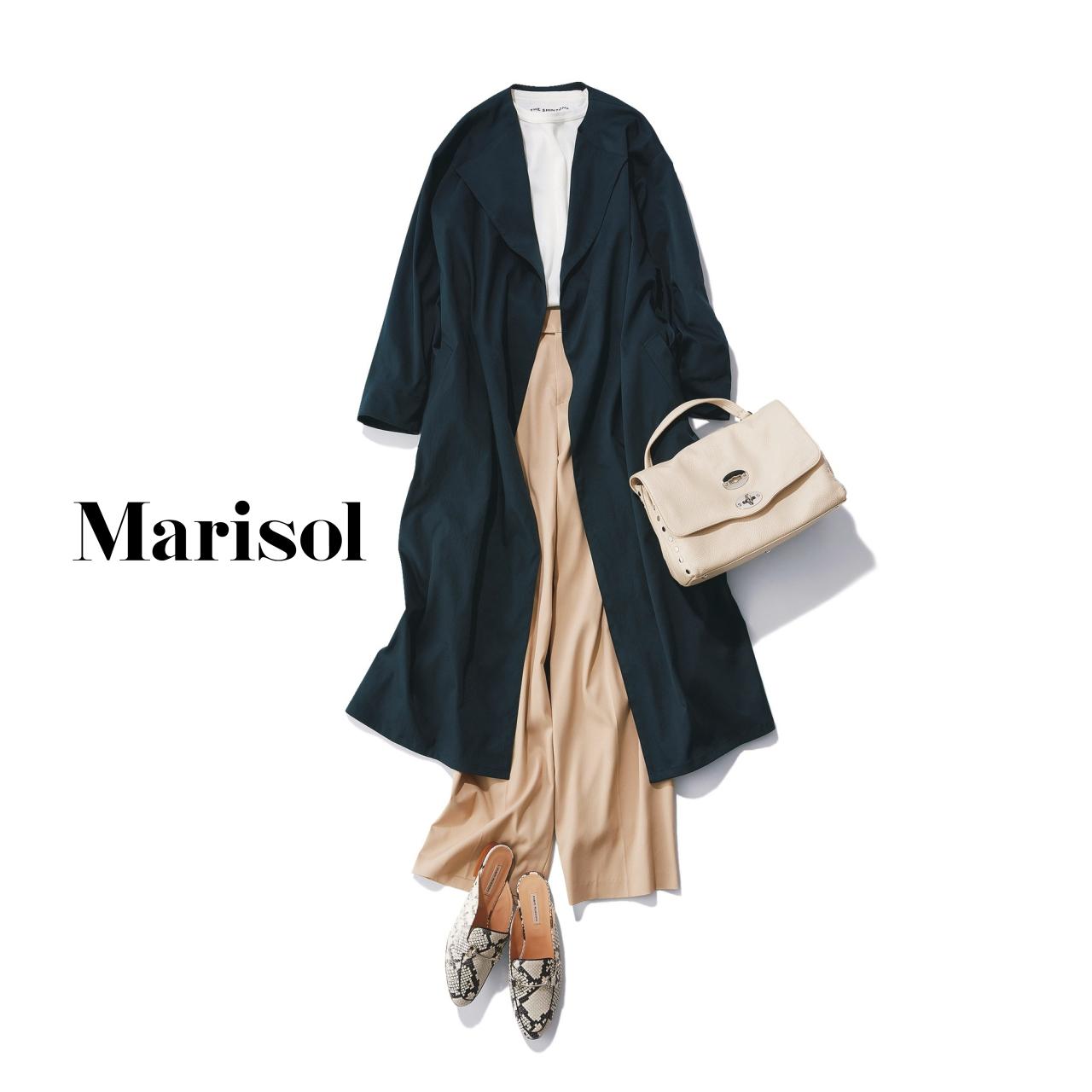 40代ファッション ライトコート×セミワイドパンツコーデ