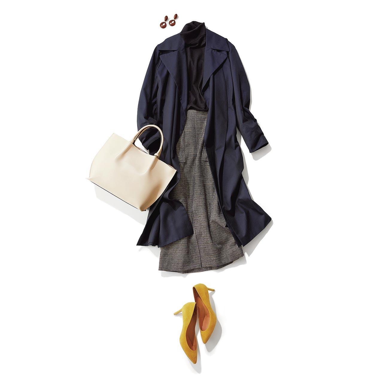 トレンチコート×タートルネックニット×ドビー・チェック柄スカートコーデを着用した高垣麗子
