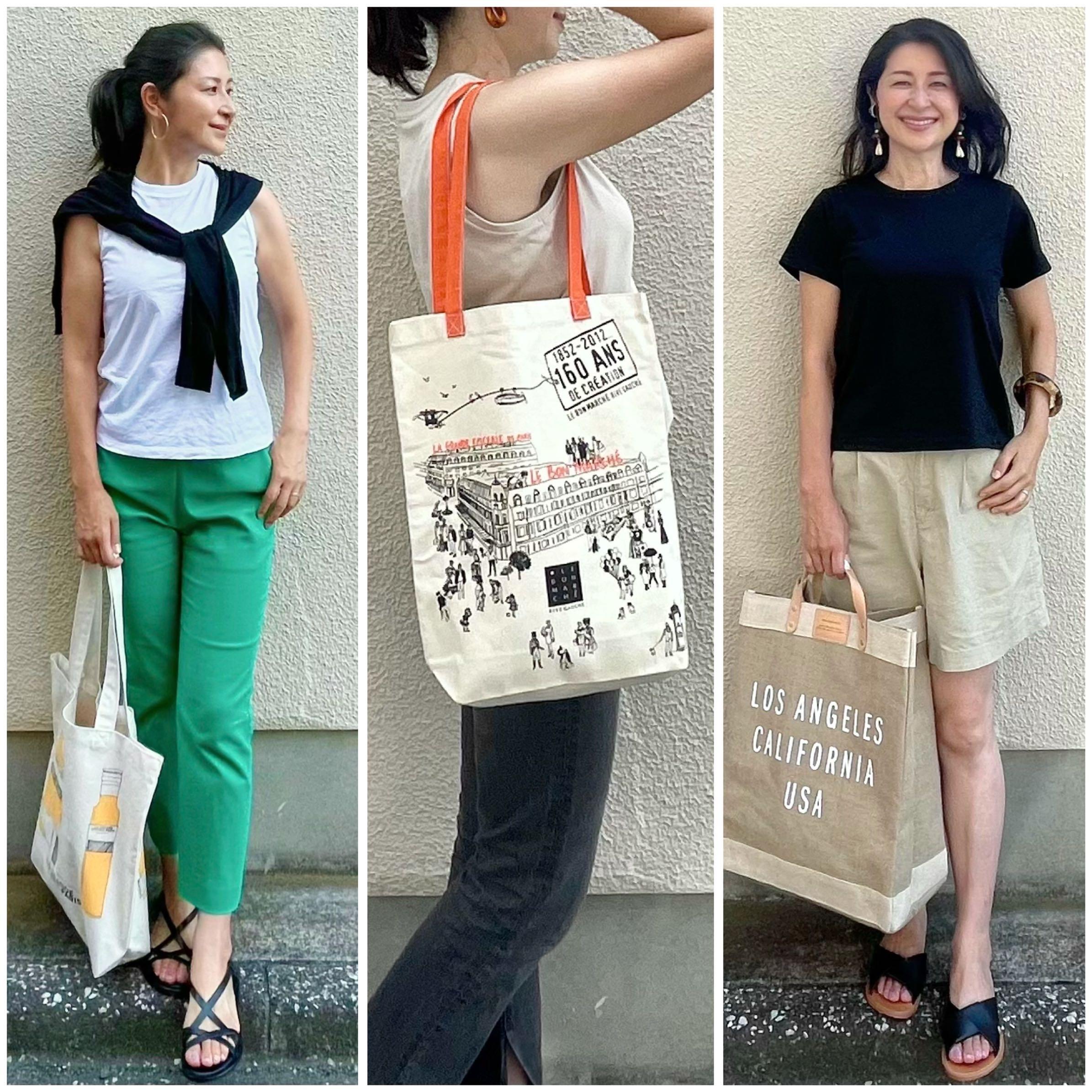 白Tシャツとグリーンパンツ、ベージュTシャツとブラックデニム、黒Tシャツとベージュショートパンツ