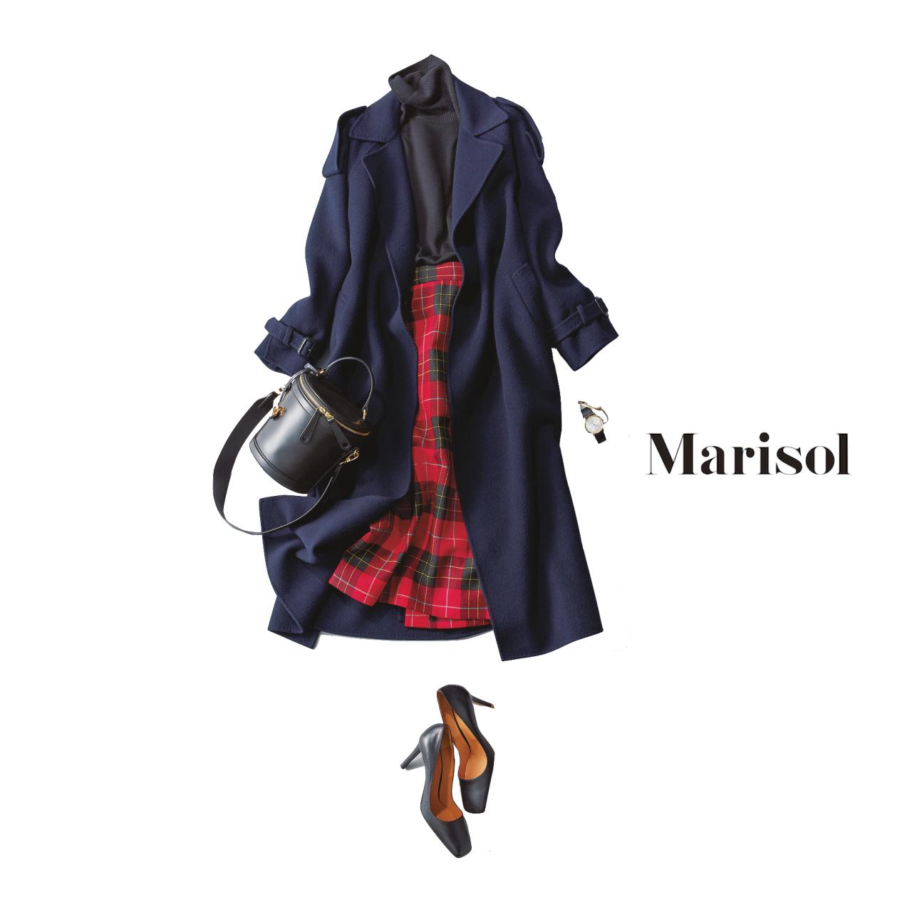 40代ファッション トレンチ風コート×チェック柄スカートコーデ
