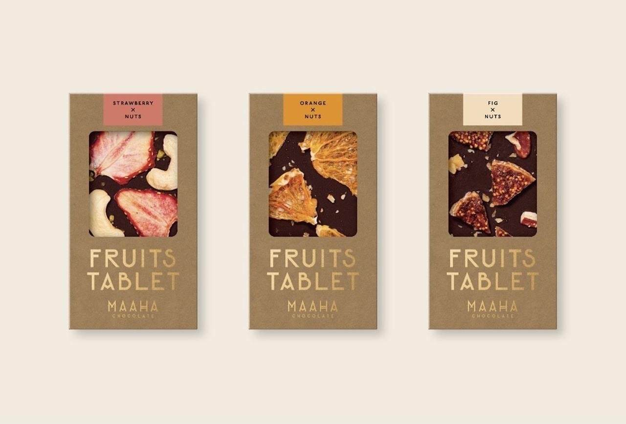 『MAAHA CHOCOLATE (マーハ チョコレート) 』「ドライフルーツ(ストロベリー、オレンジ、イチジク)」各¥1100(税込)