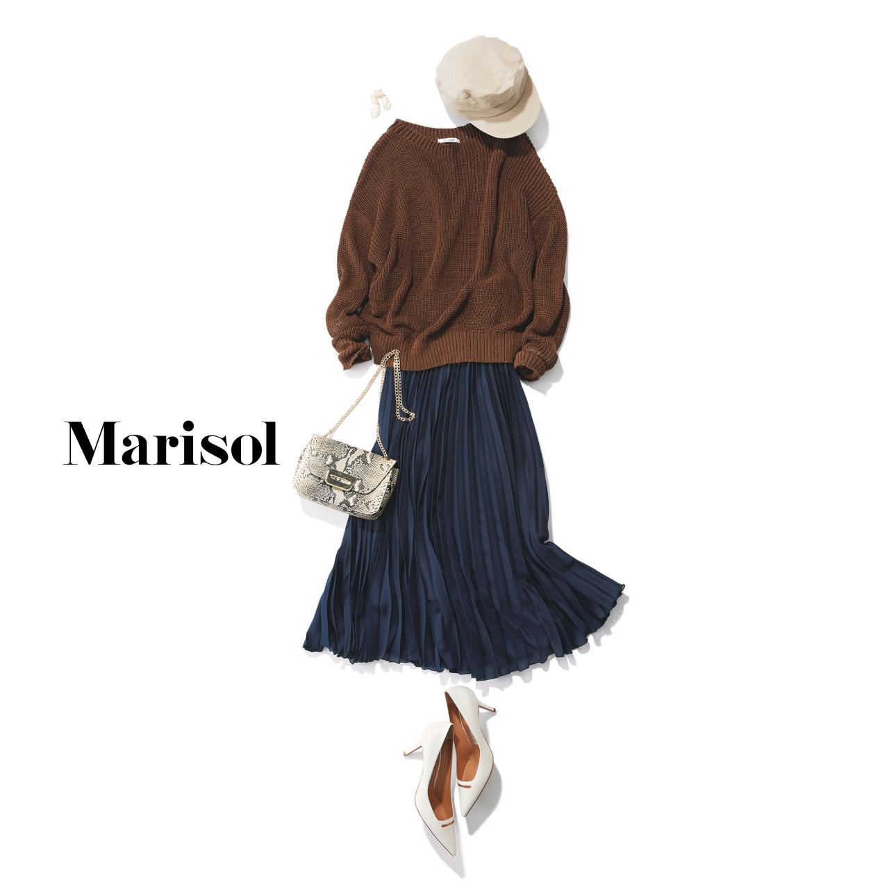 40代ファッション ニット×プリーツロングスカートコーデ