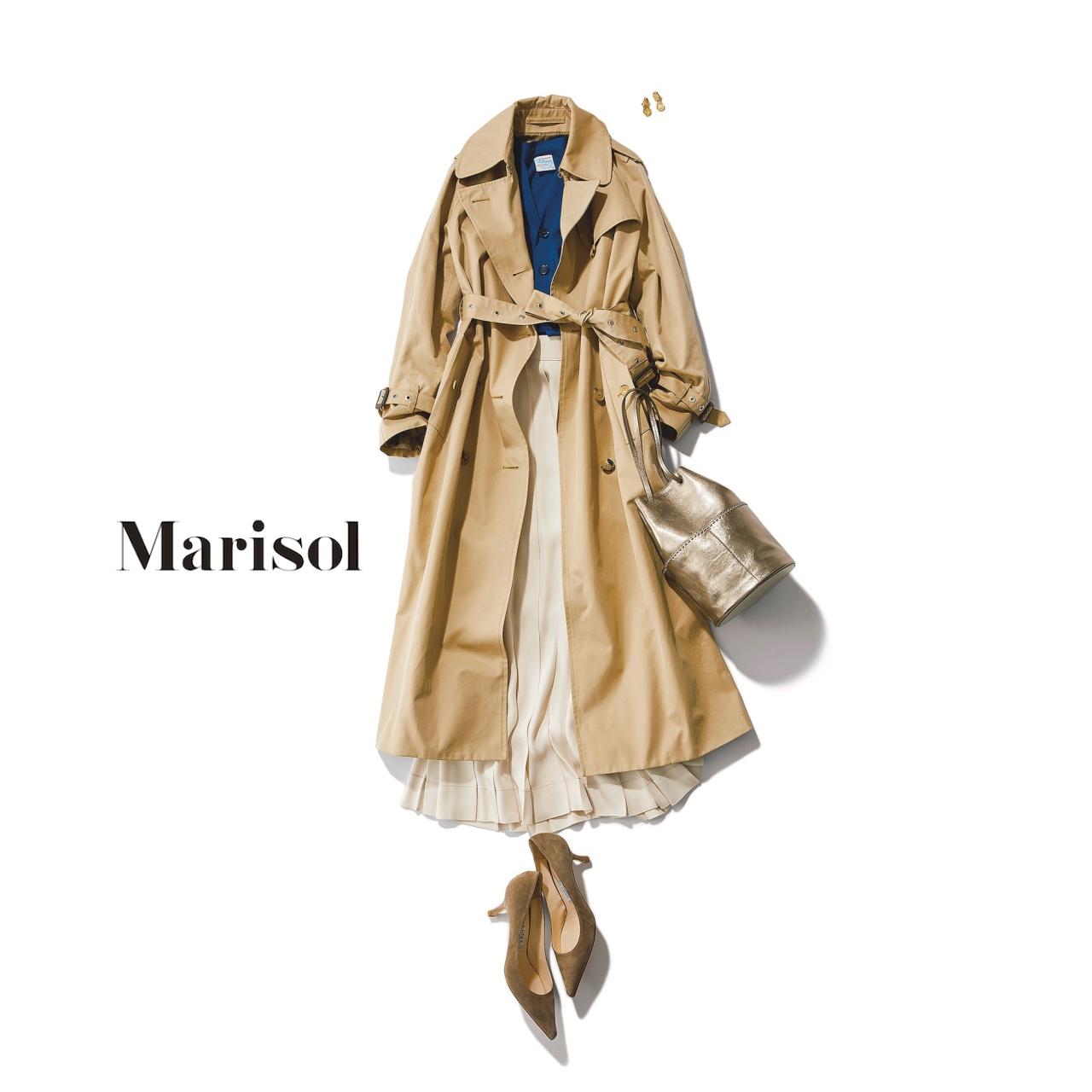 40代ファッション ベーシックトレンチ×ロングスカートコーデ