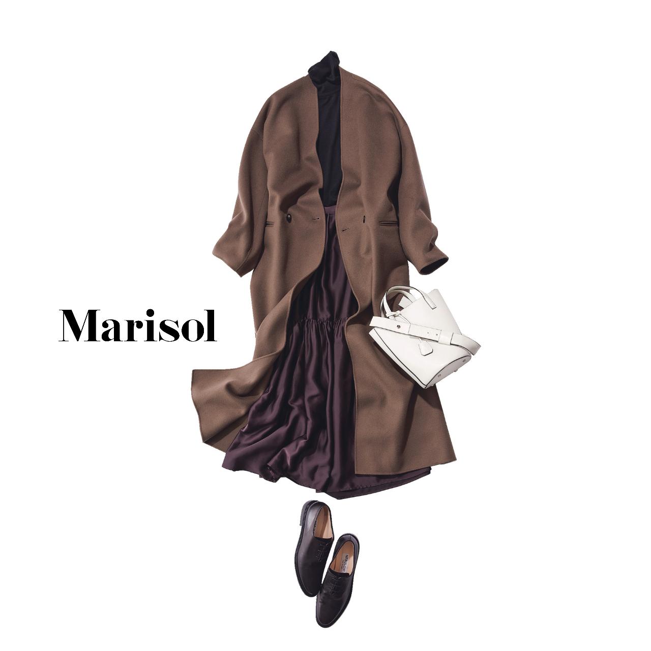 40代ファッション ブラウンコート×ニット×スカートコーデ