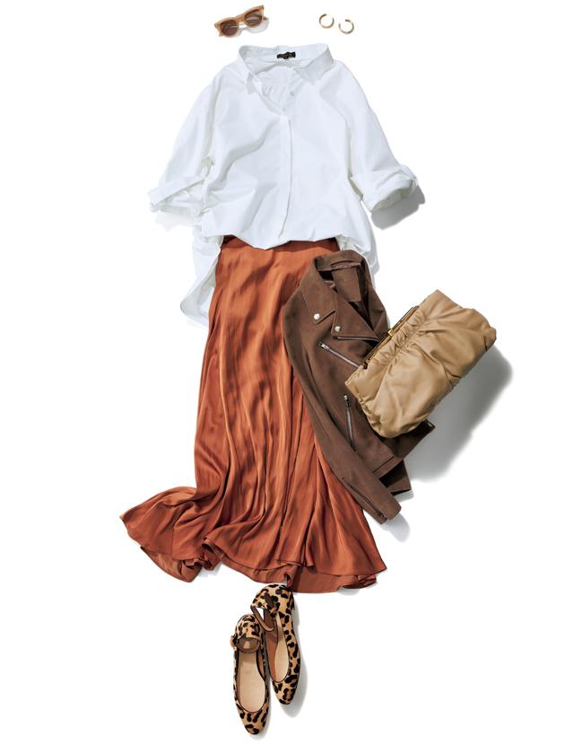 ビッグシルエットのシャツとマキシ丈スカートのコーデ