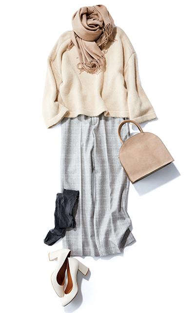 【Day14】コートいらずの暖かい日は、パンツ+タイツで軽やかに【冬の洗練パンツ30days】_1_1