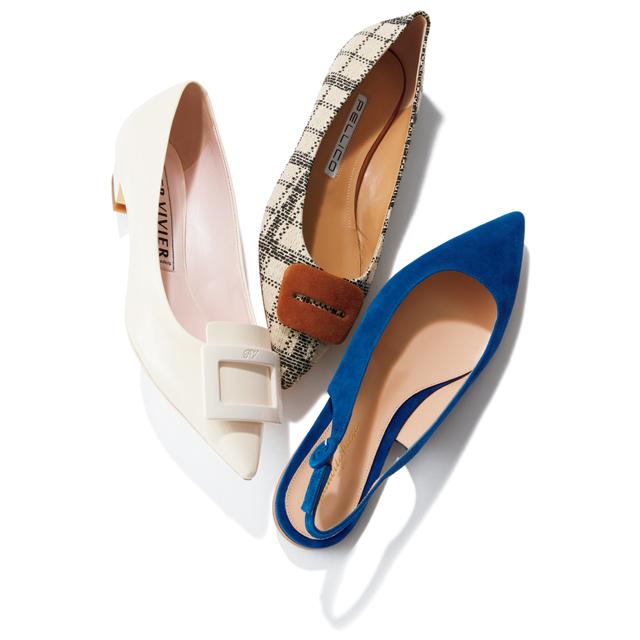 靴〈チェック〉(H1㎝)¥59,400/アマン(ペリーコ) 靴〈白〉(H2.5㎝)¥86,900/ロジェ・ヴィヴィエ・ジャパン(ロジェ ヴィヴィエ) 靴〈ブルー〉(H0.5㎝)¥97,900/ジャンヴィト ロッシ ジャパン(ジャンヴィト ロッシ)