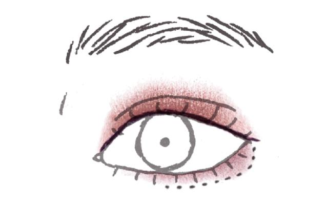 赤茶×パープル系ツートンで華やかな目もと 締め色シャドウで甘さのあるタレ目風に