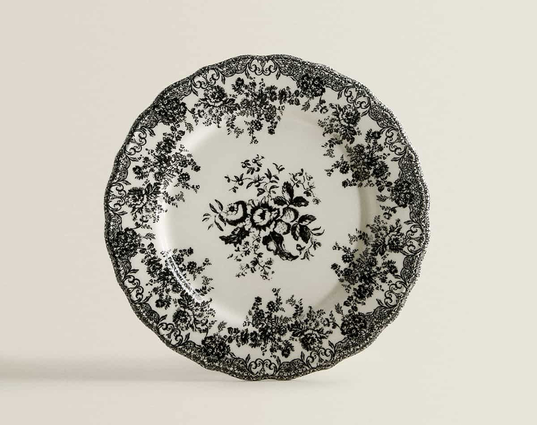 ZARA HOME フラワー柄アースンウェア製デザート皿