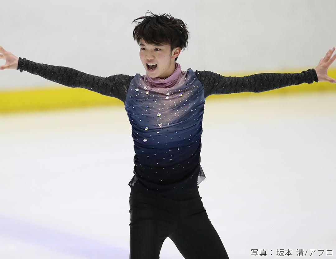 フィギュアスケート選手友野一希(KAZUKI TOMONO)がショートプログラム「The Hardest Button to Button」を披露