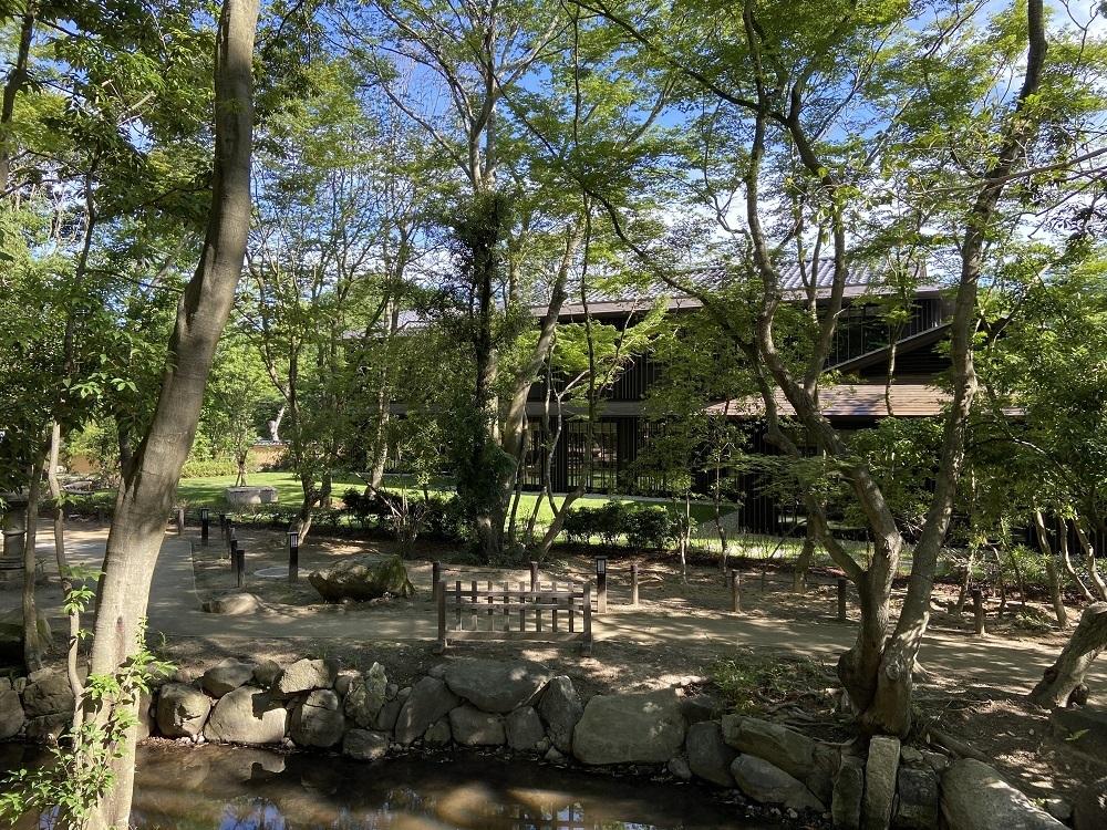 竹などの樹木が植わる敷地内を回遊できるふふ奈良の庭園