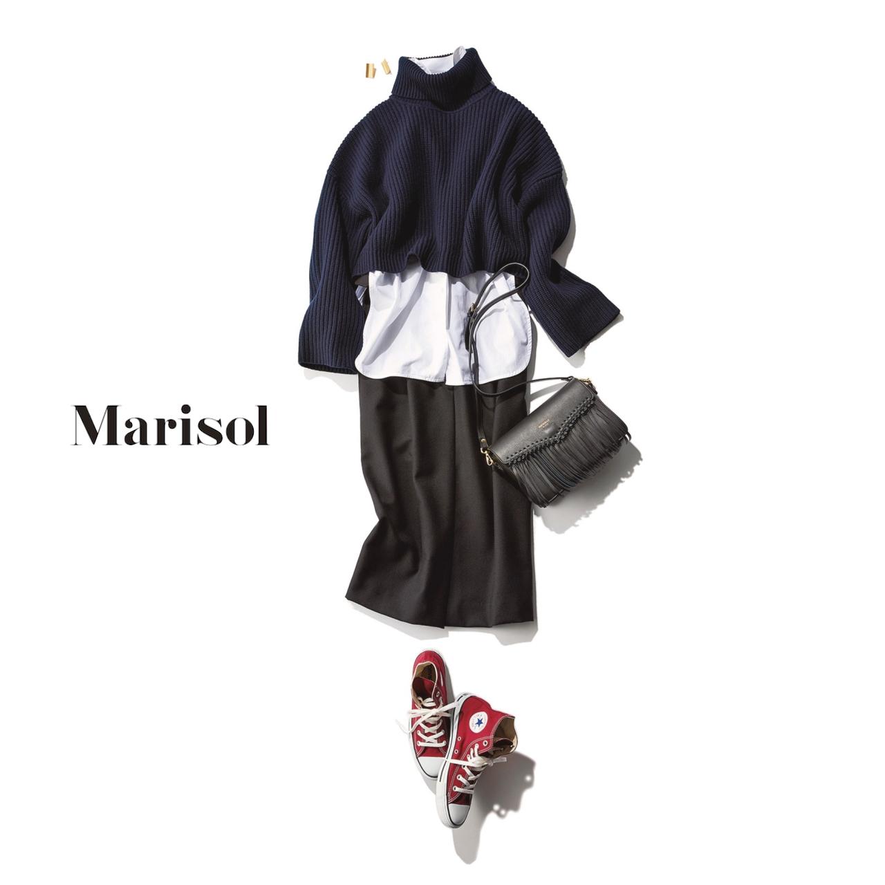 40代ファッション ネイビーニット×シャツ×スカートコーデ