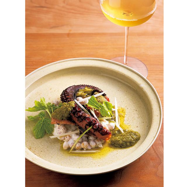 京都の東山にあるフレンチレストラン「デュプリー」の真蛸のオイル煮とひよこ豆