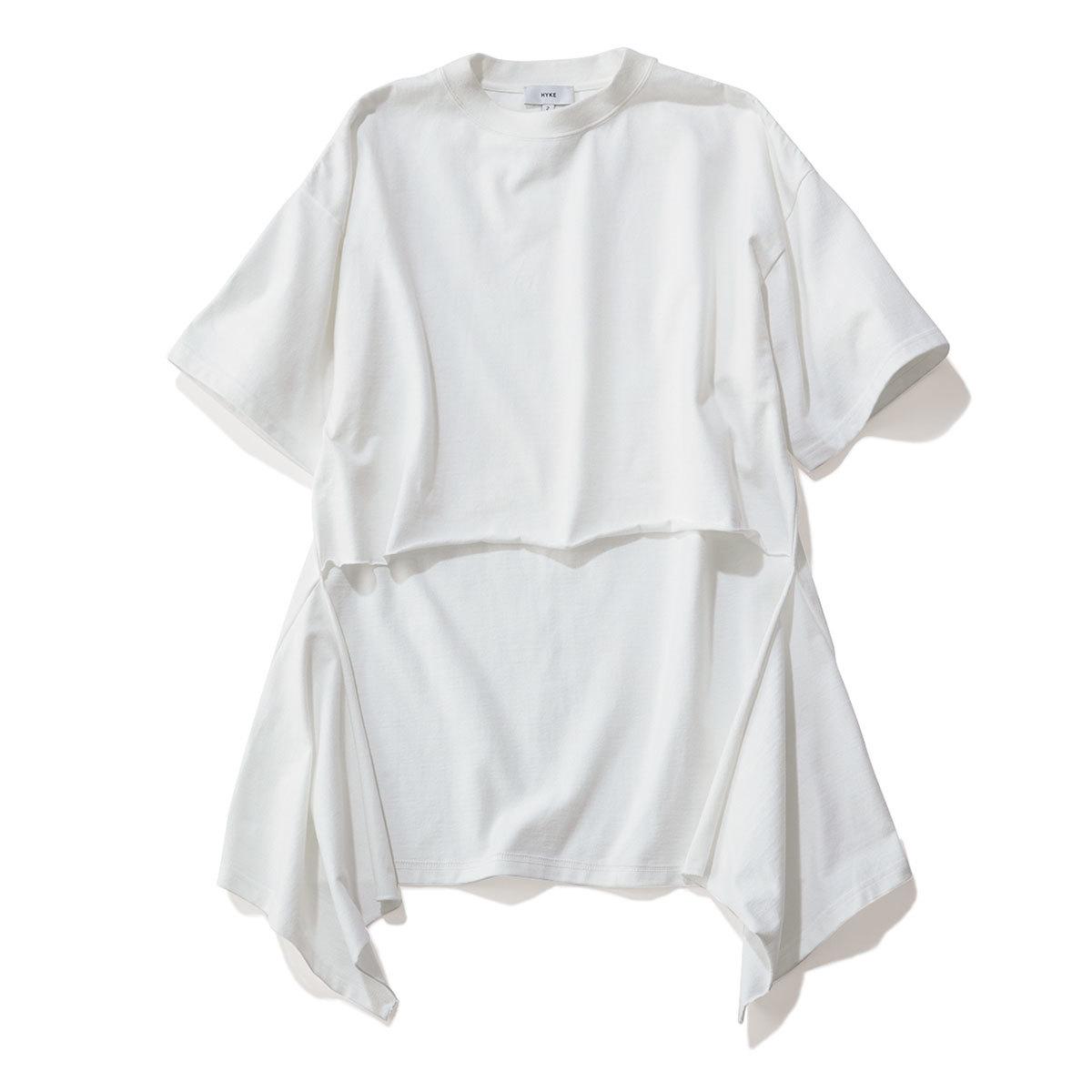40代ファッション2019年夏のお買い物_HYKEの変形ヘムTシャツ