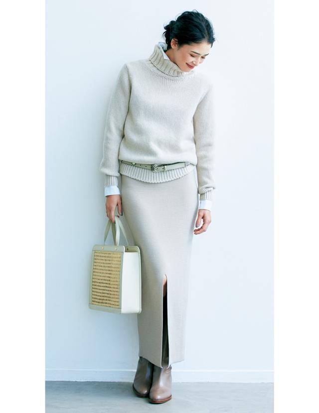 """""""小柄さん""""におすすめ長方形スタイル タイトスカートこそ縦長の救世主。くるぶしまでの長い丈を"""
