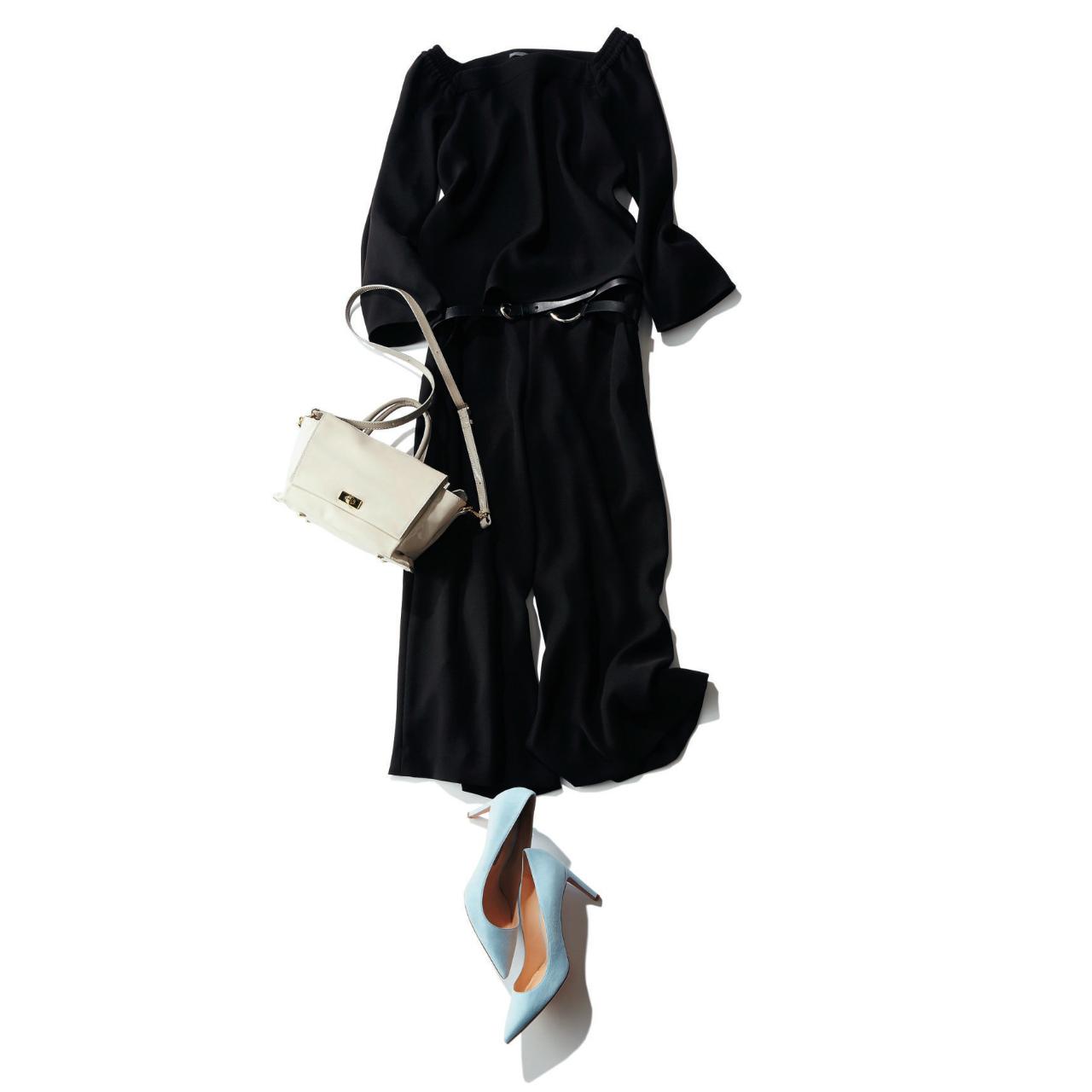 全身黒のファッションコーデ