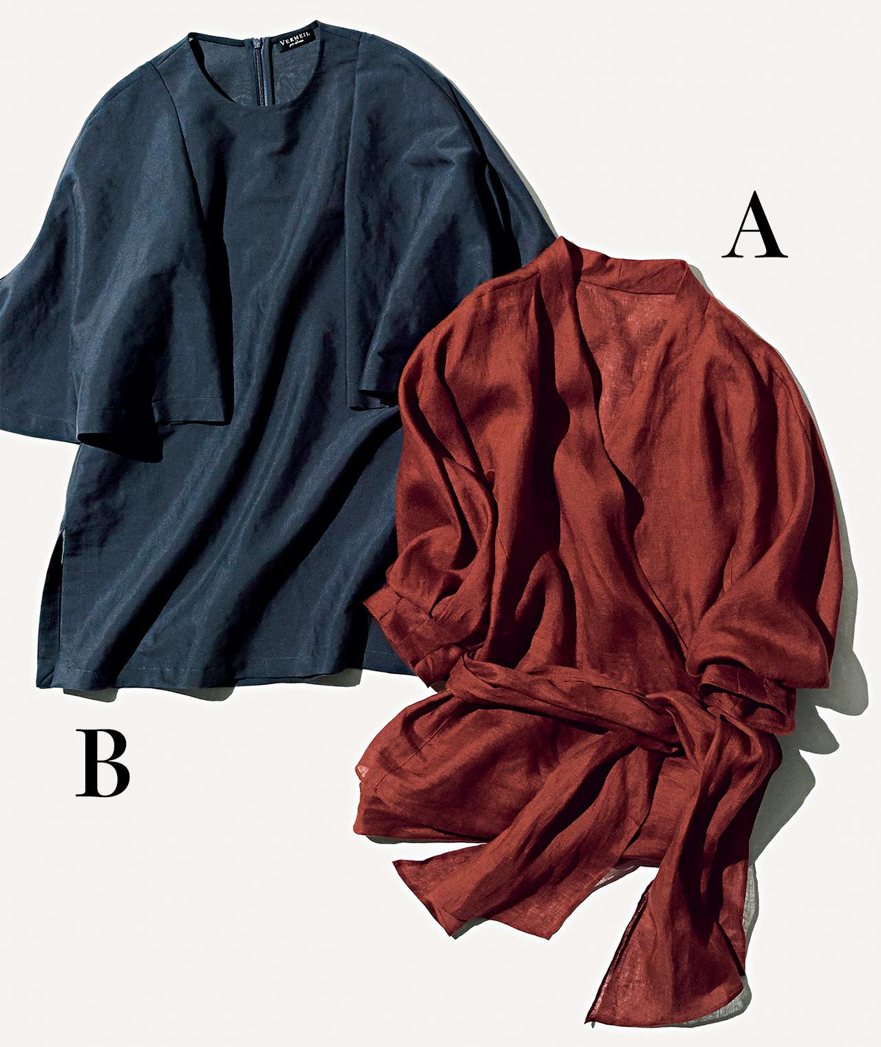 A:ヴェルメイユ パー イエナのカシュクールブラウス B:ヴェルメイユ パー イエナのケープ風ブラウス