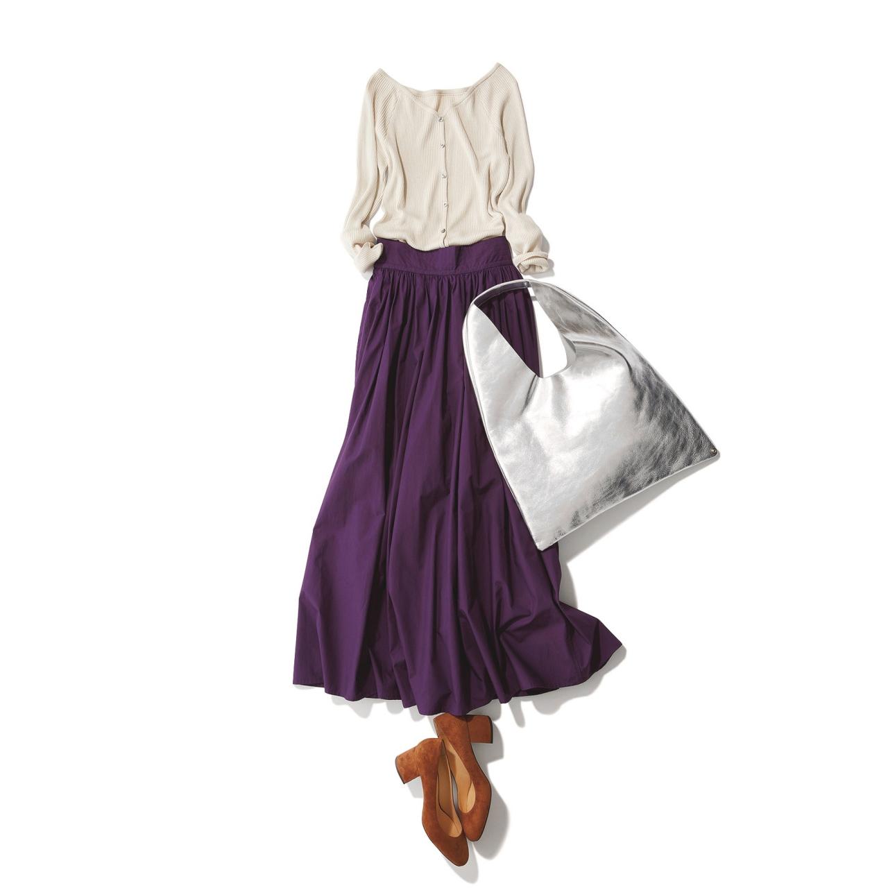 ニット×パープルスカートのファッションコーデ