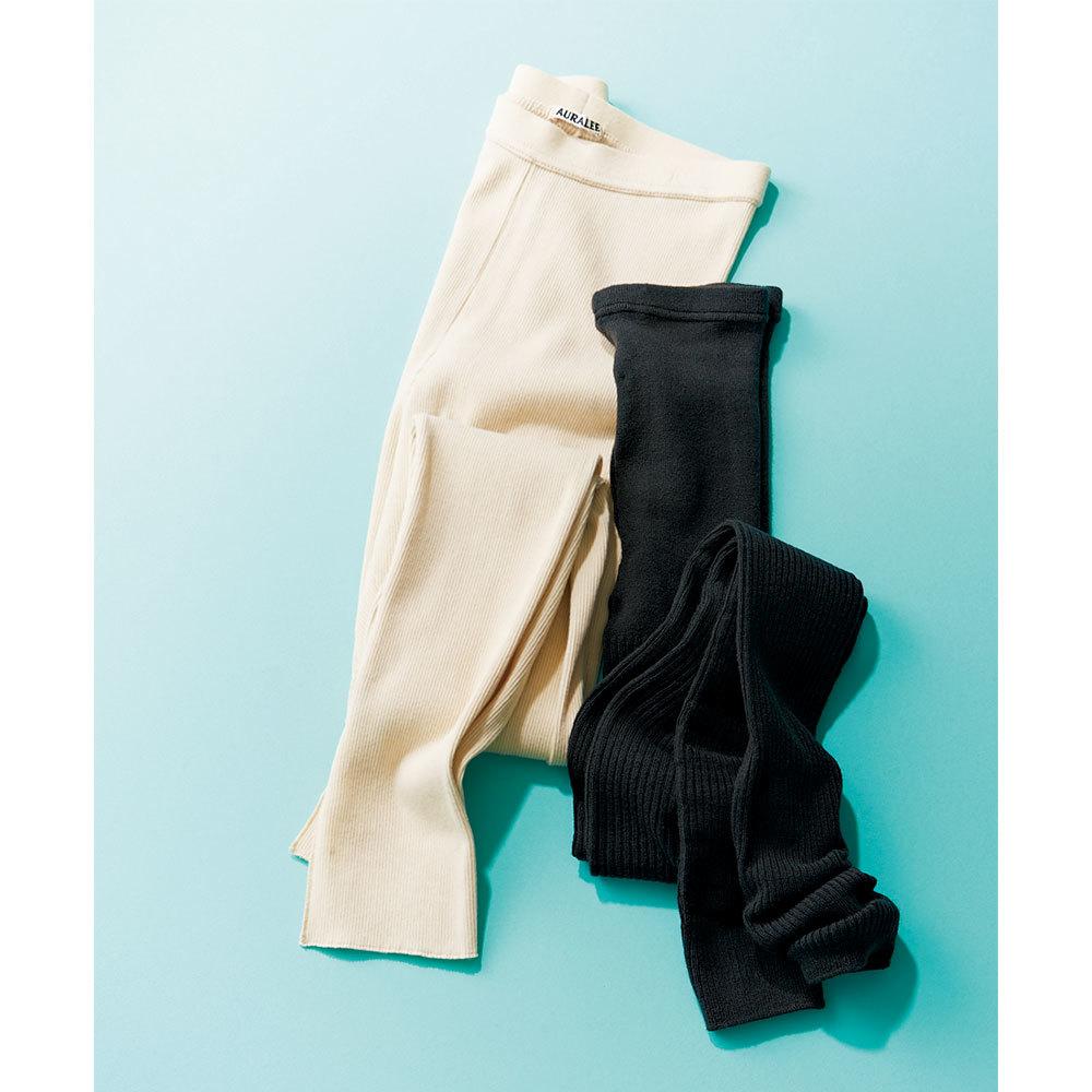 ファッション UNIQLO&AURALEEの13分丈レギンス& リブレギンス