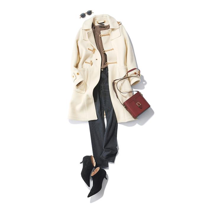 ファッション 白ダッフルコート×デニムパンツコーデ