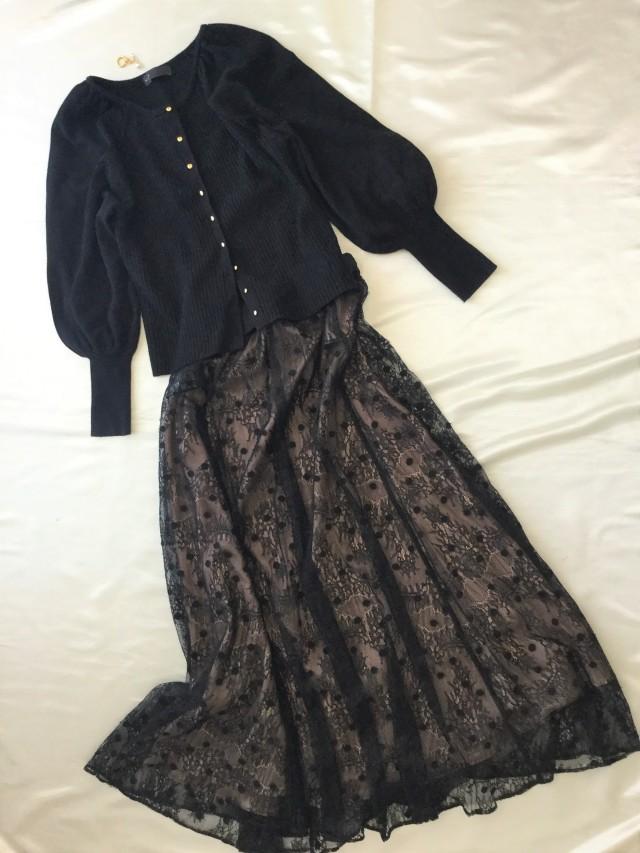 「黒コーデ」♪私の華盛りワードローブ♡『HARDY NOIR』ドット×レーススカート_1_3