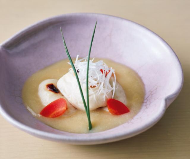 フグの白子 白味噌のソース