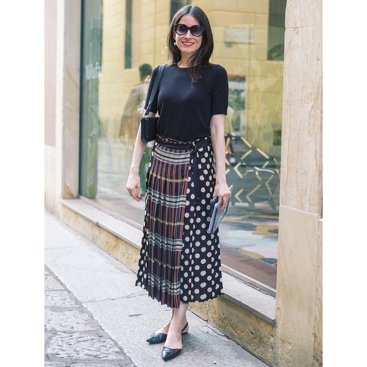 海外ファッションスナップ プリーツスカートコーデ2