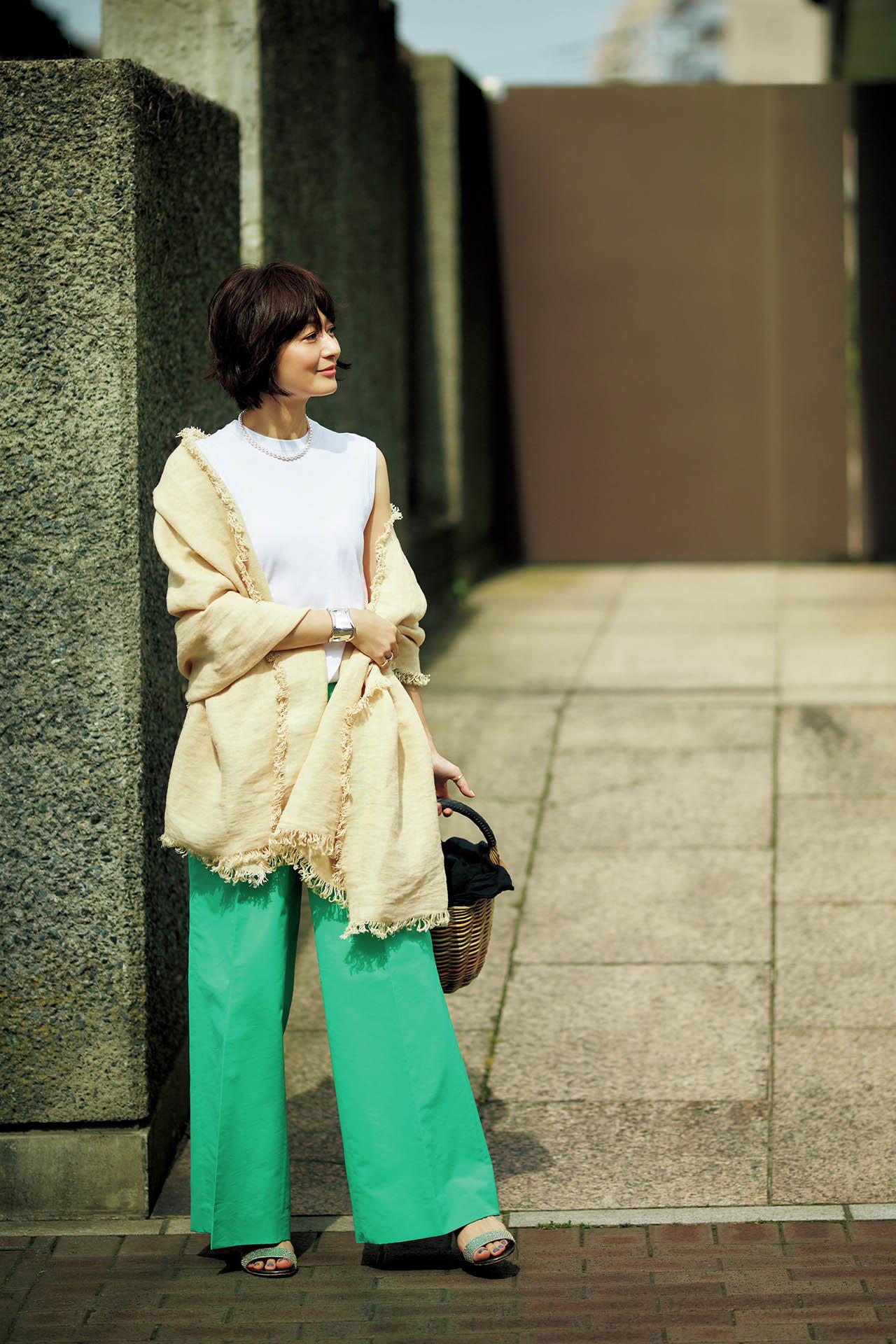 富岡佳子,50代ファッション,コーディネート