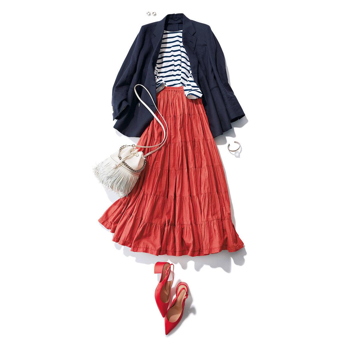 ■ネイビージャケット×ボーダーカットソー×オレンジのスカートコーデ