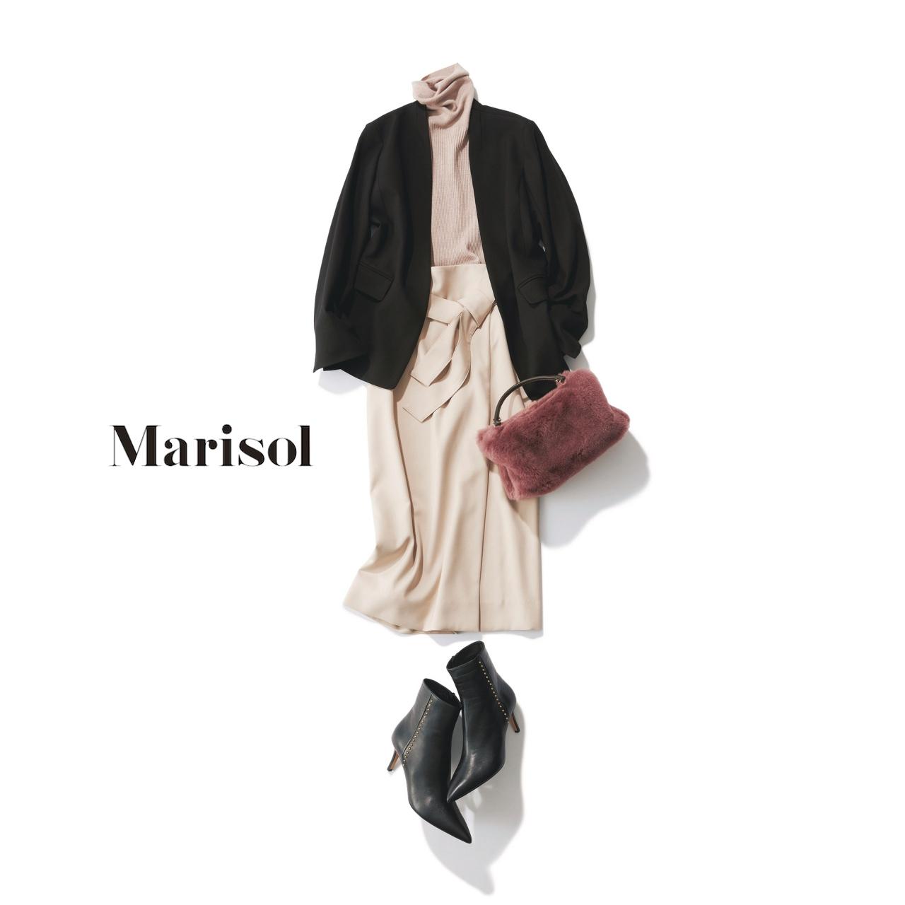 40代ファッション ジャケット×ラップ風デザインスカートコーデ