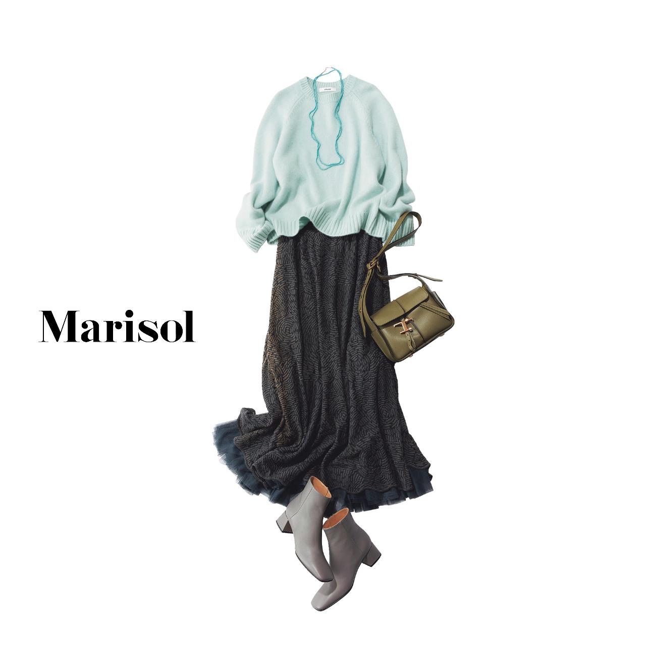 40代ファッション  ミントグリーンカットソー×グレースカートコーデ