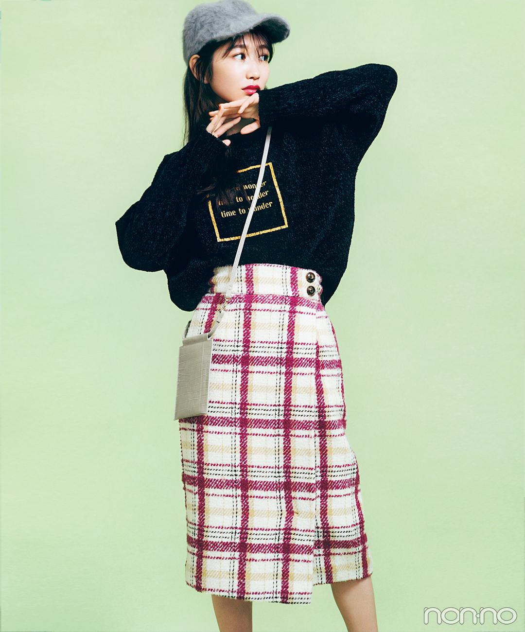 チェックのタイトスカートはロンT&キャップでカジュアルダウン!【毎日コーデ】