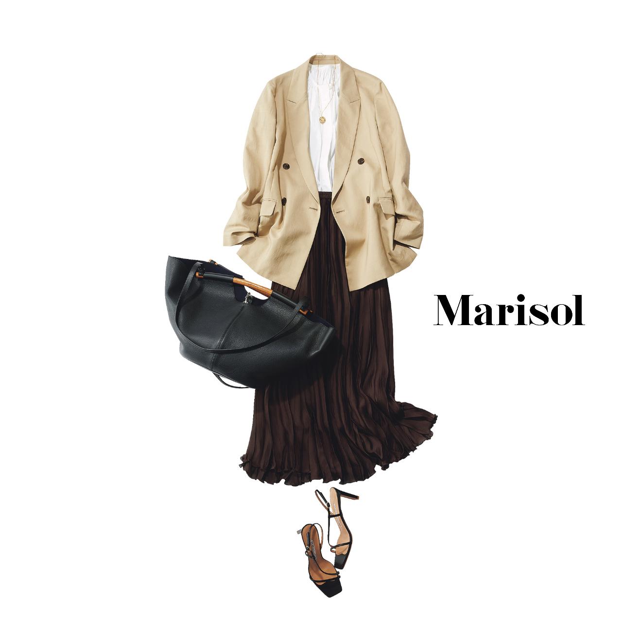 40代ファッション  ジャケット×プリーツスカートコーデ