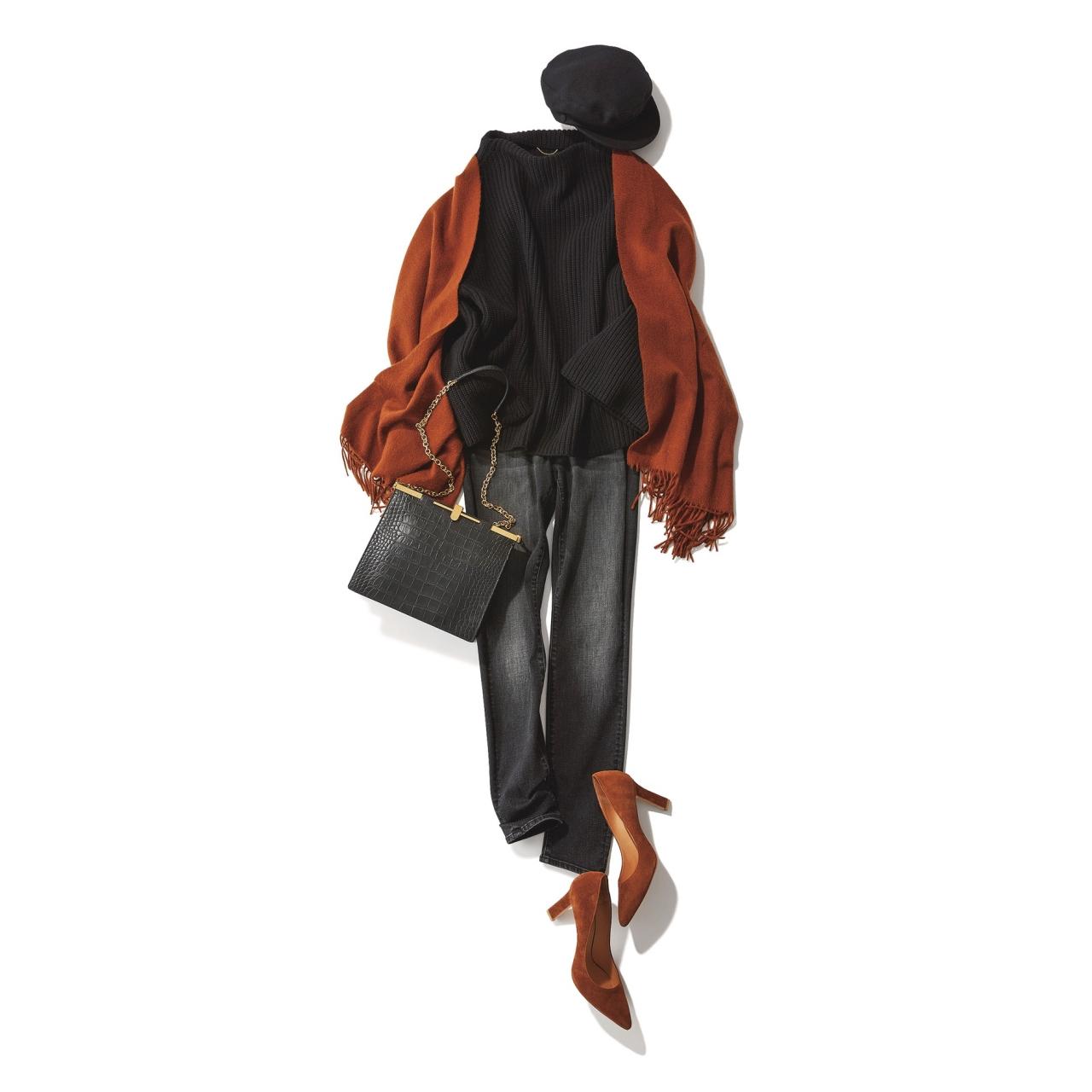ファッション 黒ニット×黒デニムパンツコーデ