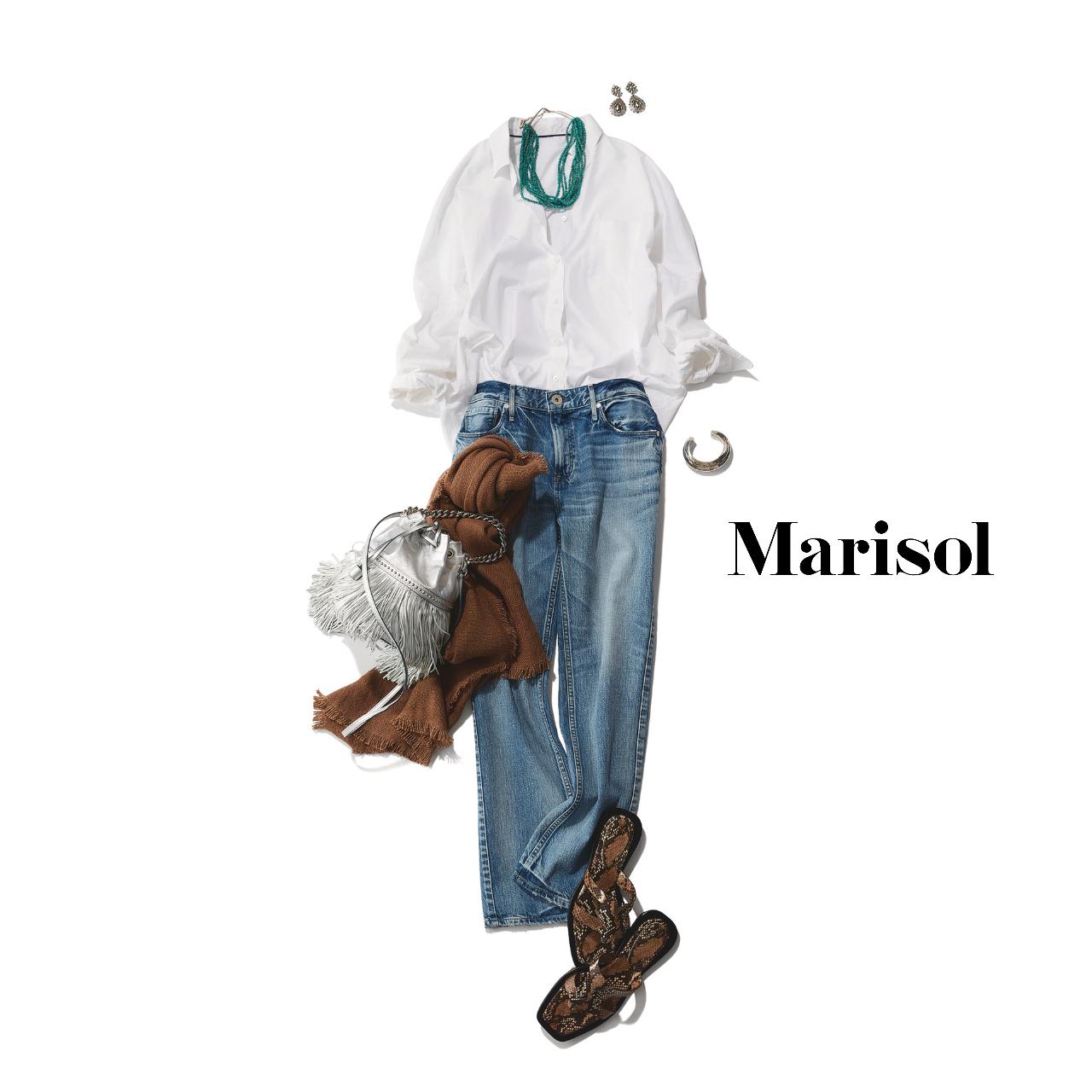 40代ファッション  白シャツ×デニムパンツコーデ