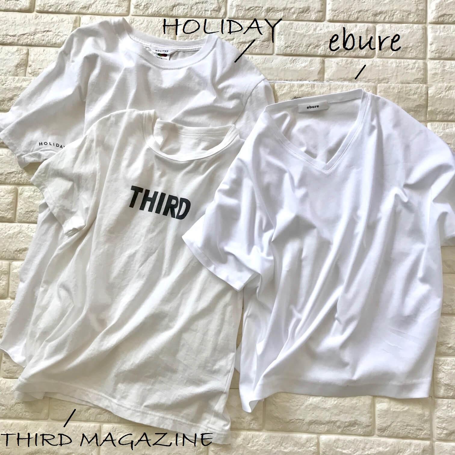 白Tシャツ3枚並べた画像