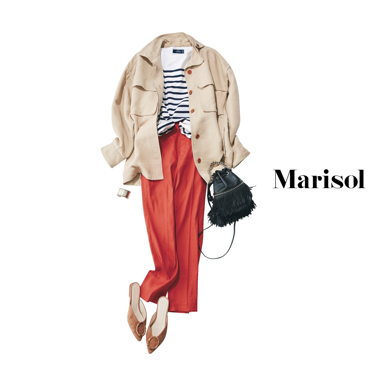 40代ファッション ベージュジャケット×ボーダーカットソー×カラーパンツコーデ