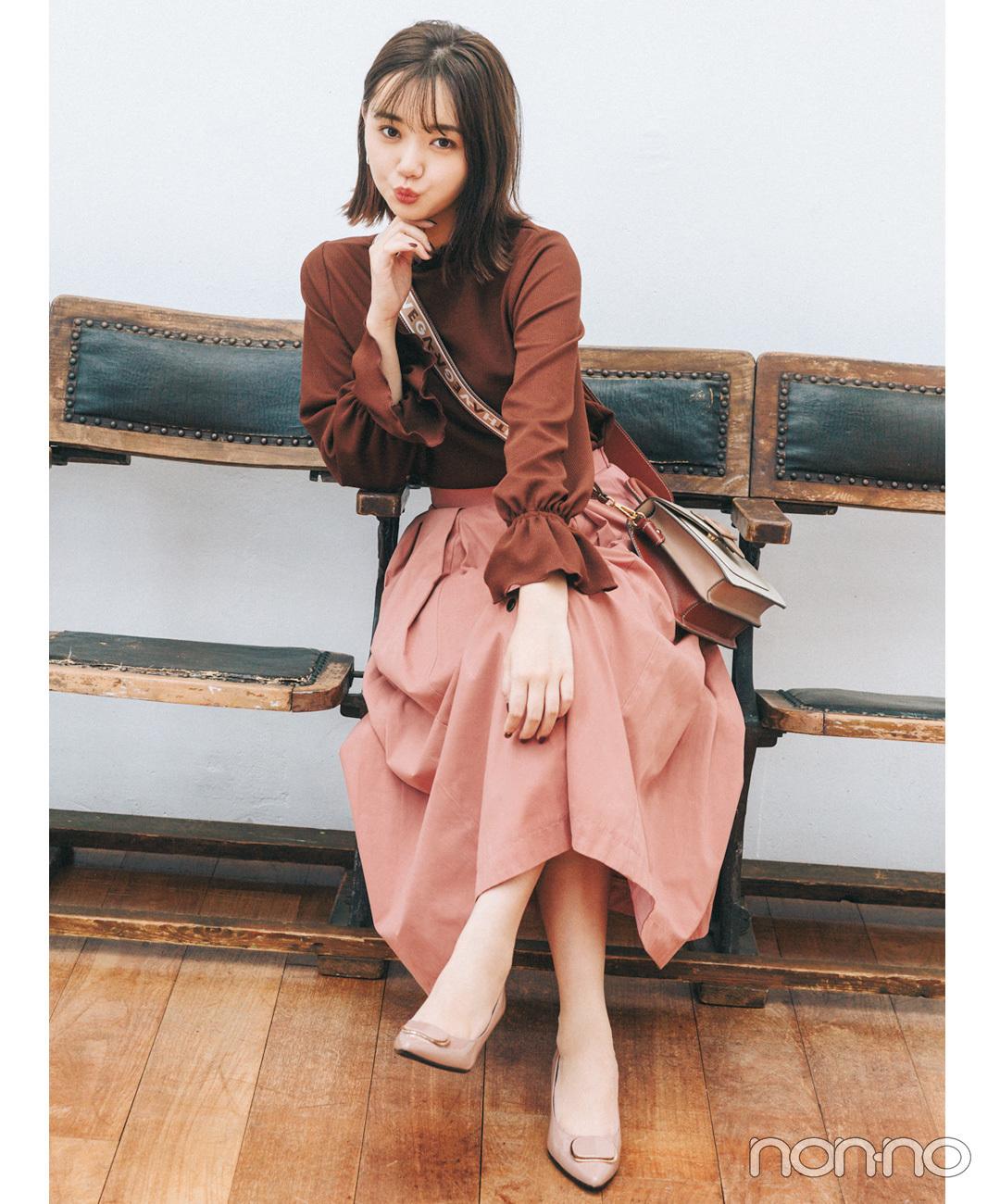 【ピンク・パンプスコーデ】いちごチョコみたい♡ 最高にキュートなブラウン&ピンクコーデ