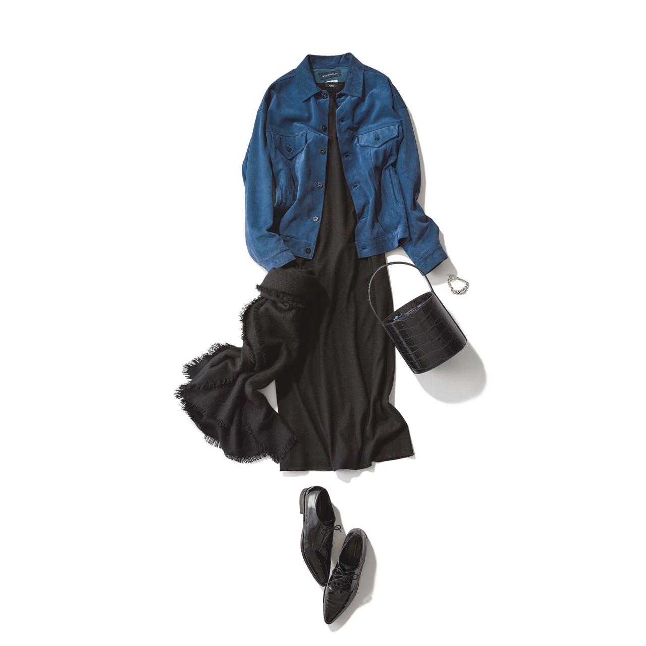 ファッション レザージャケット×黒ニットワンピースコーデ