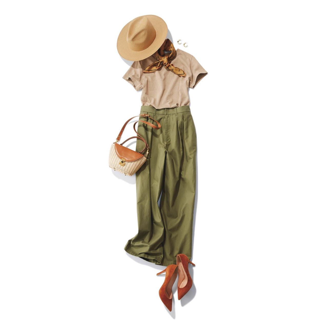 ■帽子×Tシャツ×ワイドパンツコーデ