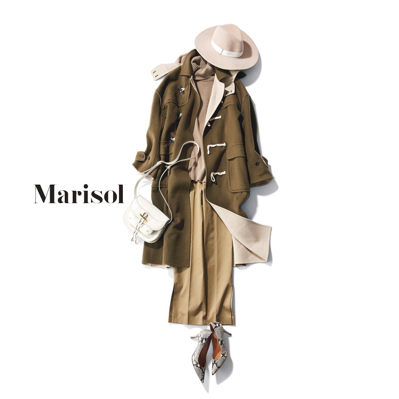 40代ファッション ダッフルコート×ベージュパンツコーデ