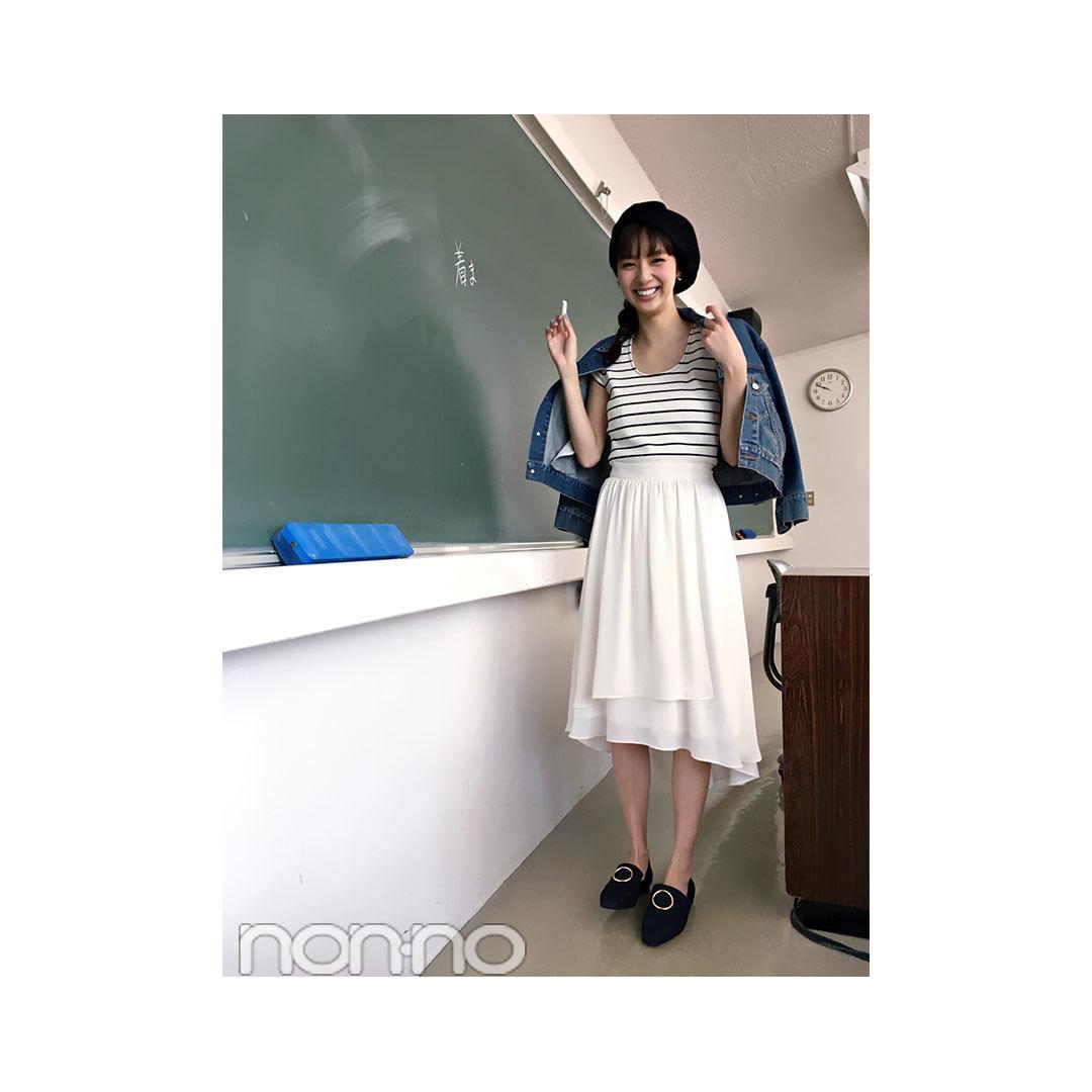 毎日コーデ★新川優愛は白の揺れスカートで好印象コーデ♪_1_1