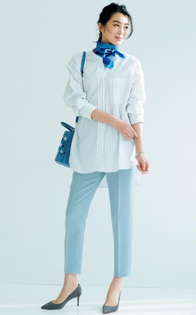 青みグレーのベーシックカラーパンツ