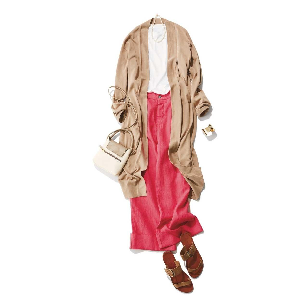ロングカーディガン×きれい色ワイドパンツの羽織ものコーデ