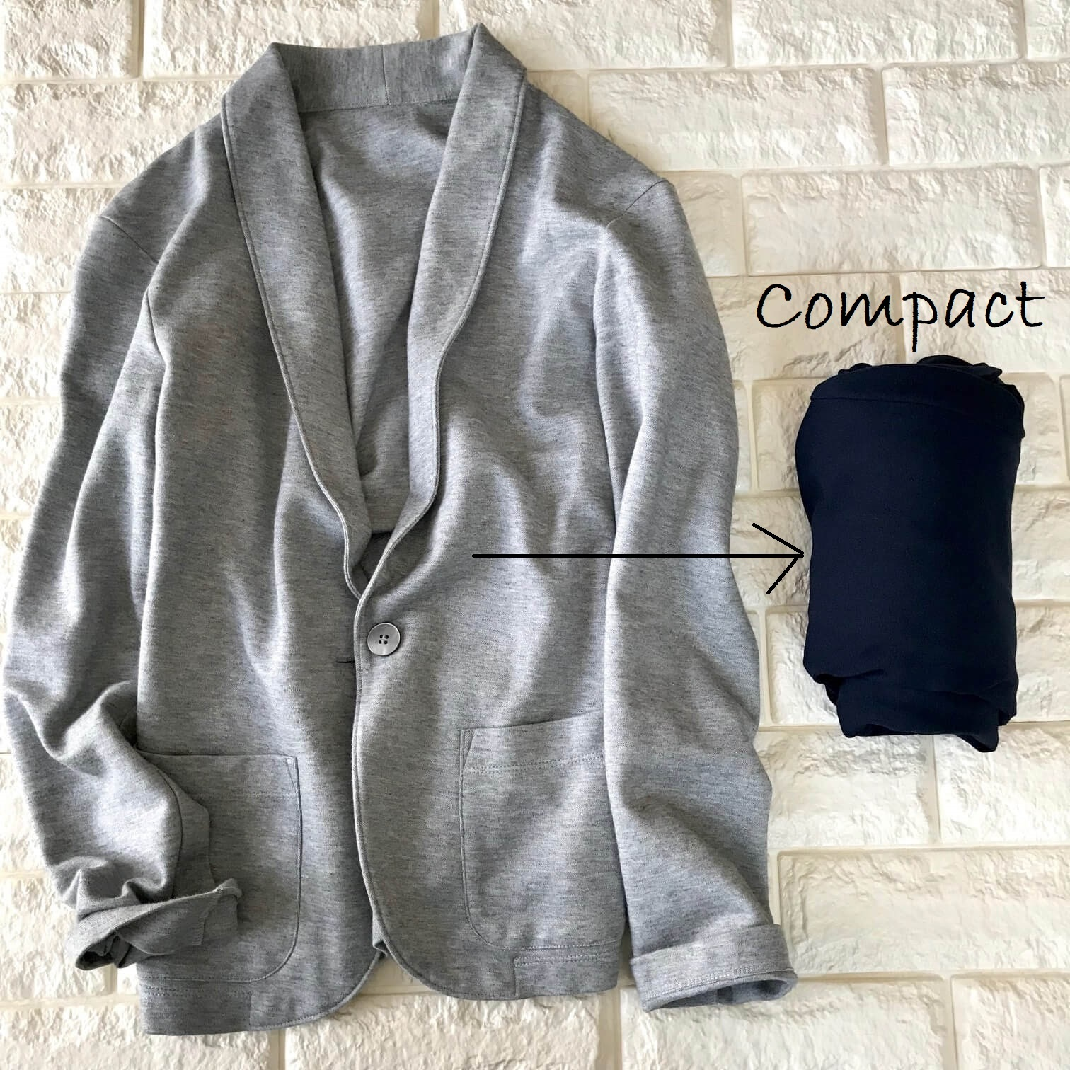ユニクロのジャージージャケットを小さくまとめた画像