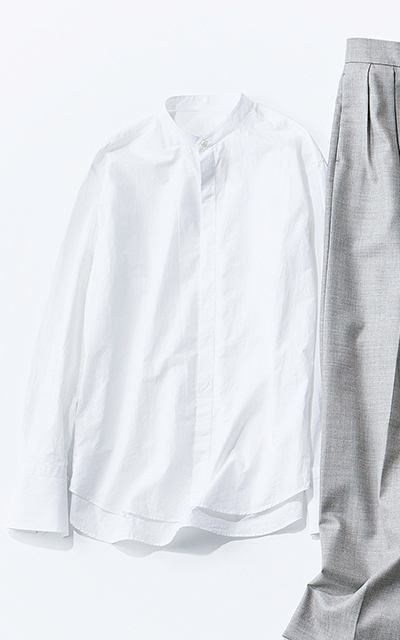 ノーカラーシャツ ブーリエンヌ
