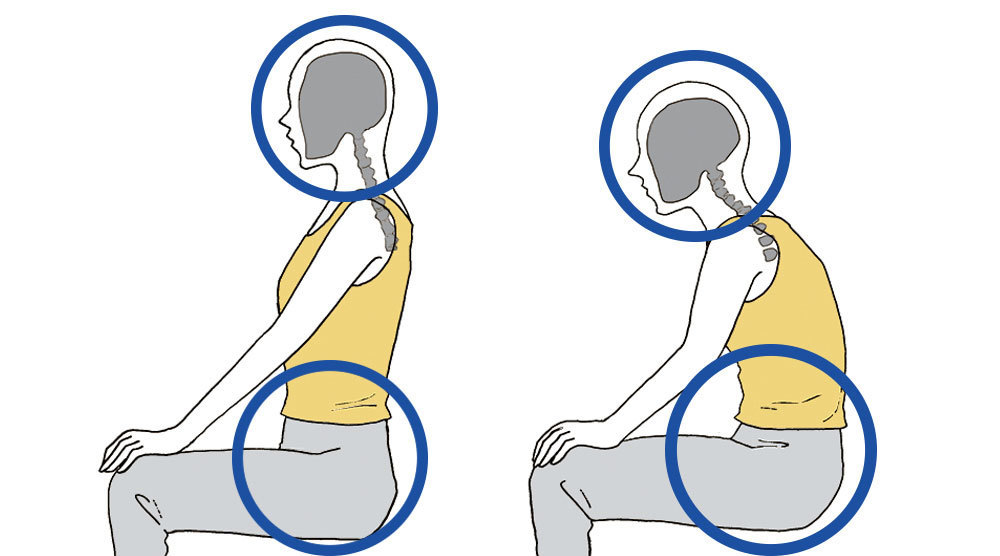 正しい姿勢と悪い姿勢を比較するイラスト